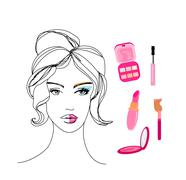 Beautiful girl wearing half face makeup Stock Illustration