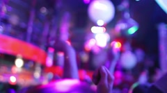 People hands up in the night club Stock Footage