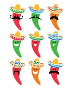 Chili pepper in Mexican Sombrero hat with mustache icons - stock illustration