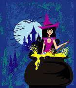 Halloween witch preparing potion Stock Illustration