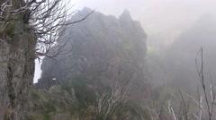 4k Mountain hiking within clouds Pico do Arieiro Madeira Stock Footage