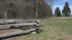 Chancellorsville Virginia Civil War battlefield split pole fence 4K Stock Footage