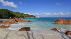 Beautiful beach Anse Lazio Stock Footage