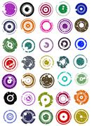 35 Splatted Circles - stock illustration