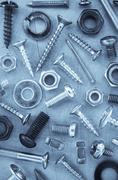 Hardware tools at metal background Stock Photos
