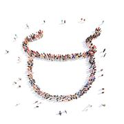 people in the form of children's bib - stock illustration