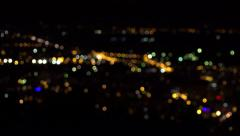 4K Night Town City View Illuminated, Urban Traffic Lights Dark, Landscape Aerial Stock Footage