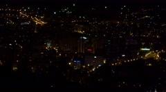 4K Night Town City View Illuminated, Urban Traffic Lights Dark, Landscape Aerial Stock Footage