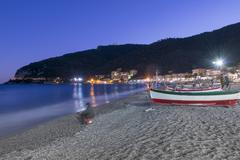 Nighttime on the Beach of Noli - stock photo