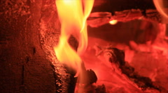 Pine wood fire Stock Footage