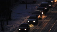 Traffic at cold season Stock Footage