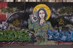 Madonna on a Mural Painting in Buenos Aires Stock Photos