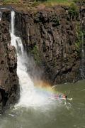 great adventure at the iguazu falls - stock photo