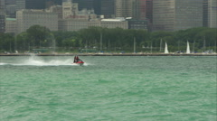 Chicago skyline from across lake Stock Footage