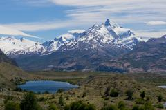 Lakes and Andes from Estancia Cristina - stock photo