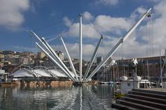 The Bigo in Ancient Harbour of Genoa - stock photo
