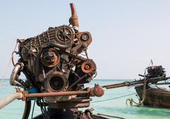 Engine of a long-tail boat Stock Photos