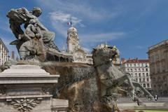 the fountain of bartholdi in place des terraux - stock photo