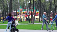 Gorky Park, Playground, people relax. Stock Footage