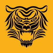 Tiger anger. Vector illustration of a tiger head. - stock illustration