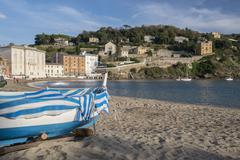 Boat on the Baia del Silenzio - stock photo