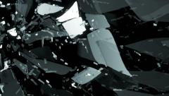 Glass shattered and breaking in slow motion and motion blur. Alpha matte - stock footage