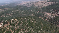Aerial of Israeli Hill Country towards JERUSALM, ISRAEL Stock Footage