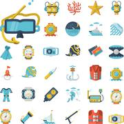 Sea leisure flat icons collection Stock Illustration