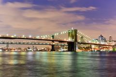 Brooklyn Bridge and East River Stock Photos