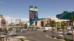 Las Vegas Blvd Street corner at the MGM Stock Footage