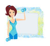 Stock Illustration of fit brunette woman exercising with two dumbbell weights on her hands