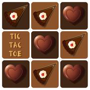 Stock Illustration of Tic-Tac-Toe of chocolate and cake