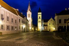 Night view of old town in Veszprem - stock photo