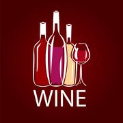 Stock Illustration of vector logo wine bottle and wine glass