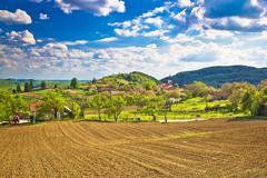 Idyllic Prigorje mountain village of Apatovec Stock Photos