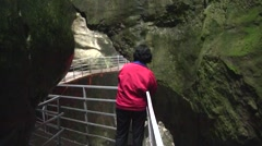 Fier Gorges, Walkway, French Alps, France Stock Footage