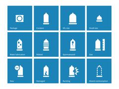 Condom and contraception icons on blue background Stock Illustration