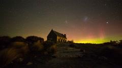 Timelapse Aurora Australis at Church of The Good Shepherd Stock Footage