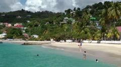 Grenada island Caribbean Sea 026 long view of Grand Anse Bay palm beach Stock Footage