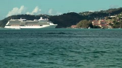 Grenada island Caribbean Sea 028 cruise ship pier of St. George's from far Stock Footage
