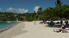 Grenada island Caribbean Sea 038 view over long Grand Anse Bay sandy beach Stock Footage