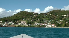 Grenada island Caribbean Sea 040 island landscape from waterside Stock Footage