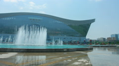 4k timelapse of the music fountain of Chengdu new century global center Stock Footage