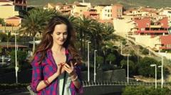 Female model lovely talk on mobile phone Stock Footage