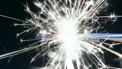 Firework sparkler burning in macro shot , tracking , dolly Stock Footage