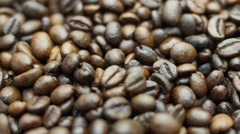 Mixing coffee beans . Closeup Stock Footage