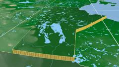 Manitoba - Canada province extruded. Bumps shaded. Stock Footage