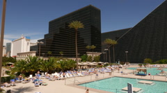 The pool area of the Luxor Hotel - stock footage
