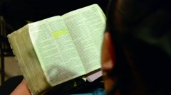 Reading the Bible Stock Footage