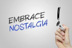 Hand writing embrace nostalgia Stock Illustration
